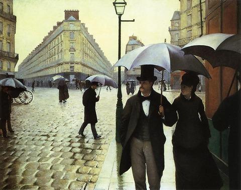 ギュスターヴ・カイユボット《パリの通り、雨》