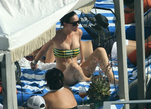 Katy Perry - In a bikini at a hotel pool in Miami 60