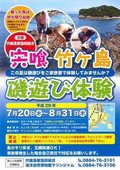 徳島県海部郡海陽町 宍喰 竹ヶ島 磯遊び体験 2017