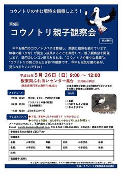 徳島県鳴門市大麻町 第5回 コウノトリ親子観察会 2019