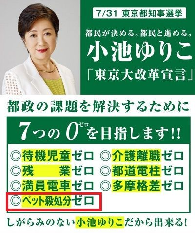 ペット殺処分ゼロ_小池百合子