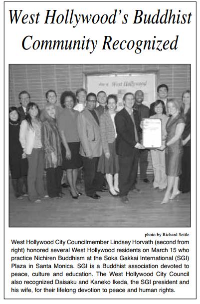 west hollywood's buddhist community recognized SGI