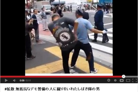 無抵抗なデモ警備の人に蹴りをいれたしばき隊の男