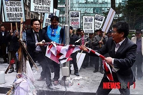 韓国日本大使館前反日デモ2