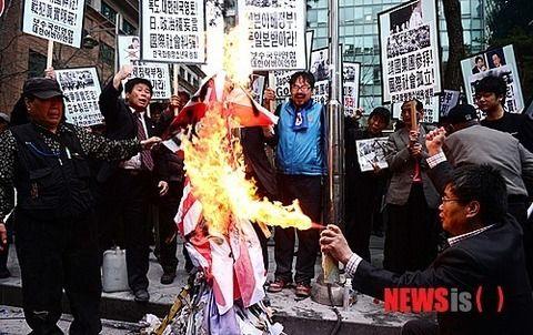 韓国日本大使館前反日デモ3
