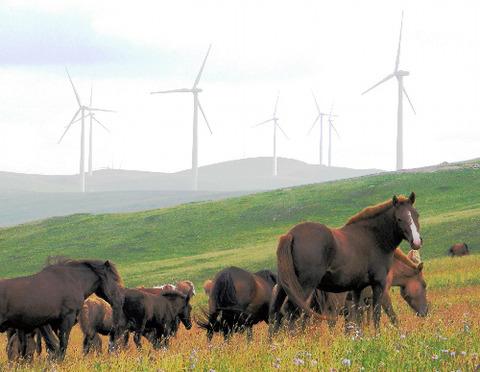 モンゴル投資会社が運営する風力発電所