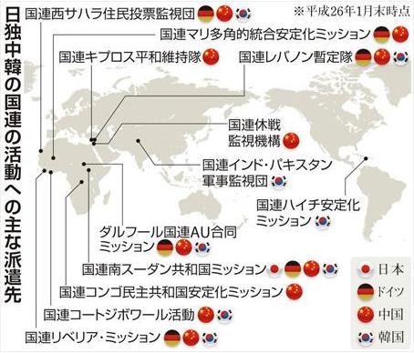 日独中韓の国連活動派遣先
