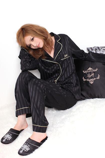 Rady レディ 通販 ストライプ サテン パジャマ ブラック