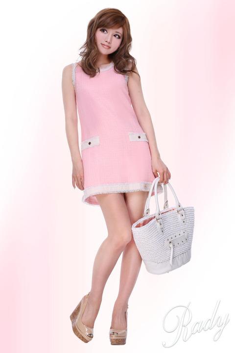 レディ通販 ブライトツイード ワンピース ピンク
