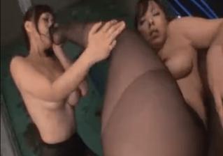 黒パンスト巨乳レズビアン