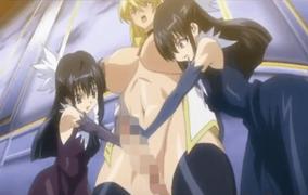 エロアニメ ロリ痴女たちにふたなりチ○ポをW手コキされて悶絶する巨乳美女