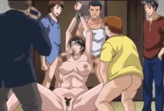エロアニメ 目隠し拘束されて複数チ○コに悶え狂う淫乱すぎる巨乳人妻