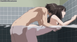 エロアニメ 綺麗なお姉さんと湯船の中でエッチして中出し