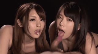 桜井あゆ&有村千佳 美痴女たちの猛烈なWフェラで口内射精。お掃除Wフェラがエロい