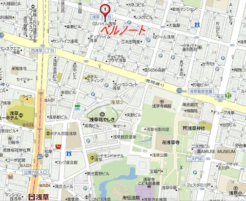 浅草寺北西ベルノート地図