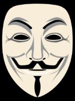 悪意あるハッカー集団 Anonymous を象徴する仮面の画像。