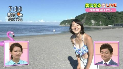 NHKの巨乳アナが朝の番組で水着で谷間を見せつける