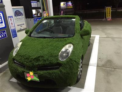 【画像】 ガソリンスタンドに停まってた車にめっちゃ草生えたwwwwww