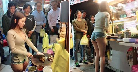 台湾の市場 美女がショートパンツで肉を切る姿見たさに客が殺到し売上が4倍に