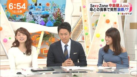 めざましどようびの女子アナ、今日もニットを着ておっぱいを強調 黒い女子アナ・岡副麻希さんは肩まで出してる