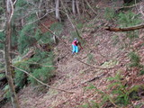 急斜面をトラバース