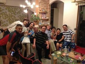 妹家族の家で記念撮影