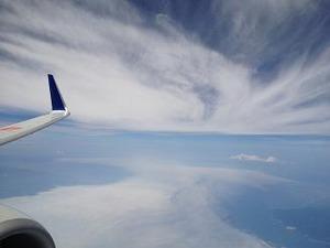 津軽海峡上空通過