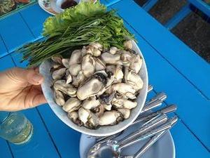 地元の牡蠣を食らう