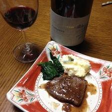 赤ワインと牛サーロインステーキ