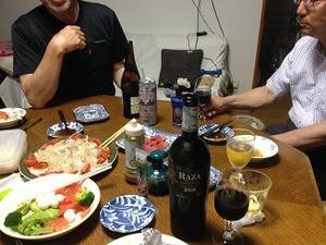 晩餐はN氏とI氏と乾杯