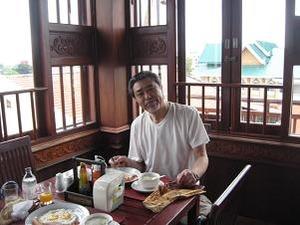 最上階で朝食