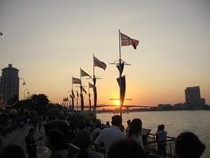 チャオプラヤ川の夕陽