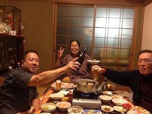 大将の実家で晩餐会