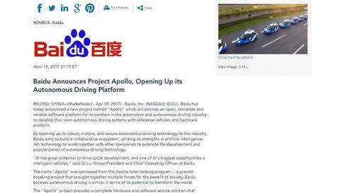 Baidu Announces Project Apollo