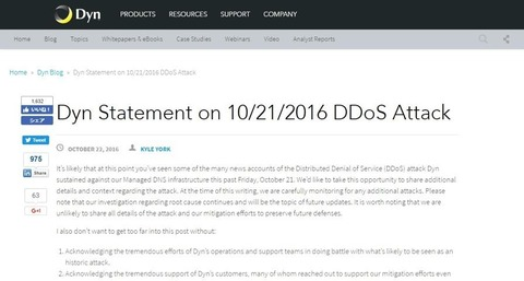 Dyn Statement on 10 21 2016 DDoS Attack