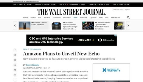 Amazon Plans to Unveil New Echo   WSJ