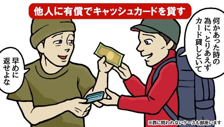 他人に有償でキャッシュカードを貸す