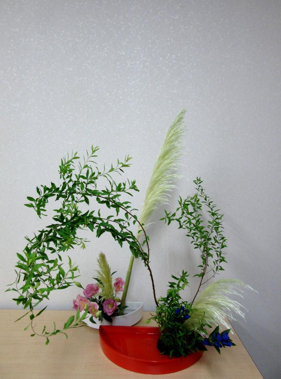 IMG_3158 第8応用併合花型 前はユキヤナギの枝振りを考えて第1応用傾真型 後ろは第...