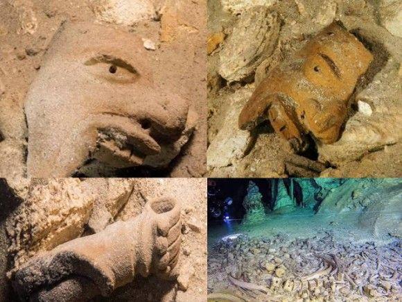 マヤの遺跡か?水中の巨大洞窟で発見された神殿や陶器、人骨も(メキシコ)