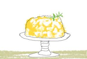 アスカ画 ミモザのケーキ