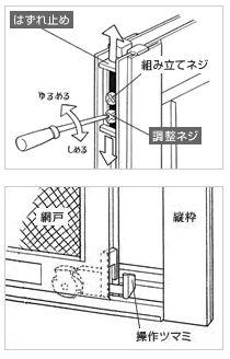 引き違い窓 網戸 外し方