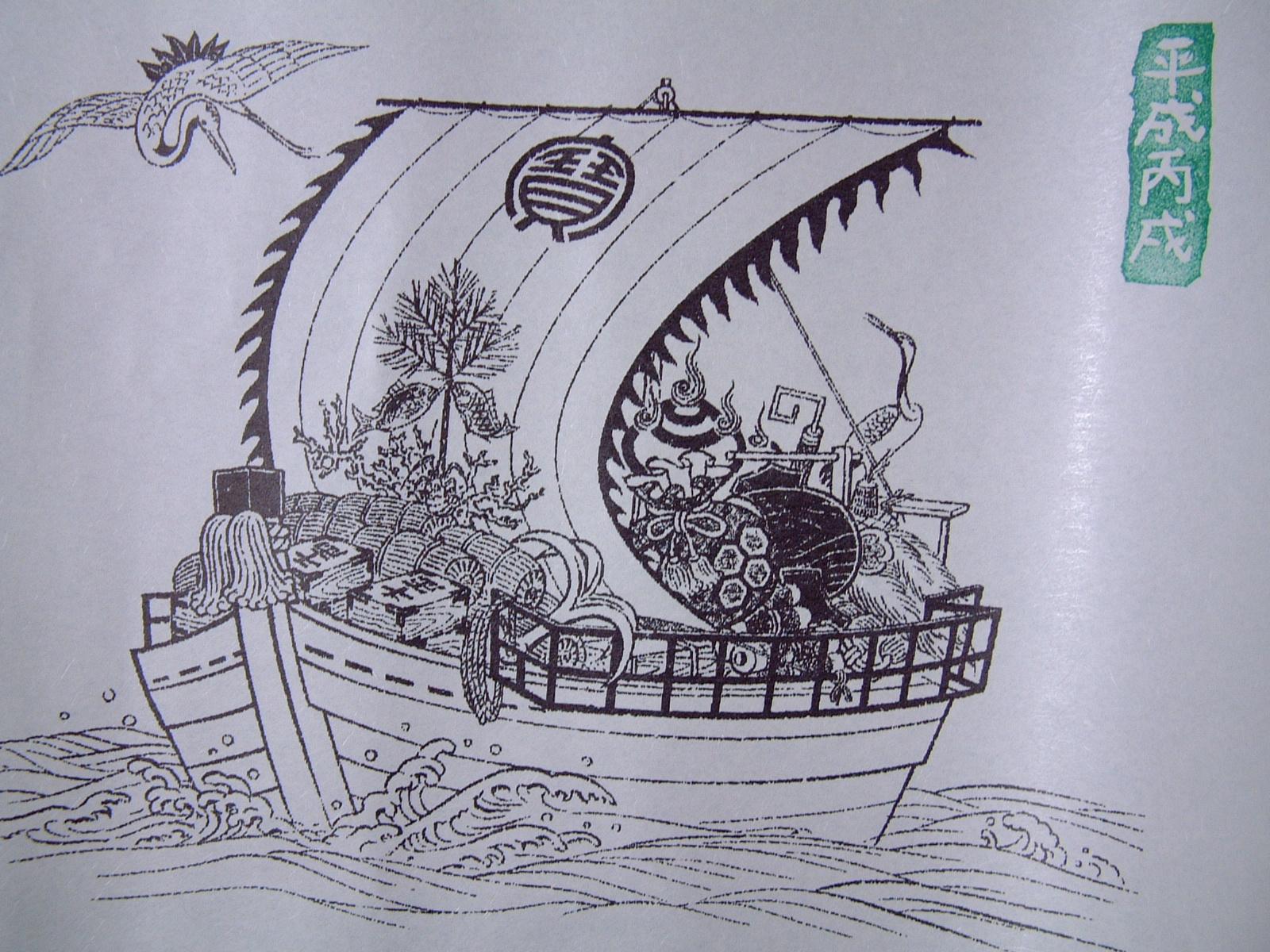 宝船に七福神