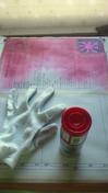 サンドブラスト「作業中」(退官記念額縁ミラー)塗装中「レッド」