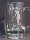 サンドブラスト作品(ビールジョッキ)ゴルフコンペ副賞