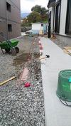 外構工事(歩道法面)糸張り