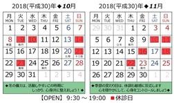 営業日カレンダー(2018.10-11)