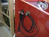 サンドブラストBOX(赤キャビ)改良完成(照明配線)