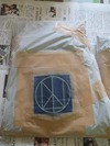 サンドブラスト作業(デニムジーンズ)袋養生「彫り完了」
