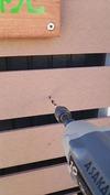看板制作(天然木&ペンキ)プランター取り付け穴開け