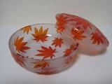 被せ(キセ)ガラス[オレンジ:菓子鉢]